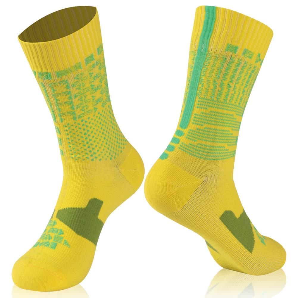 Waterproof Ultimate Socks, RANDY SUN Unisex Sport Socks & Breathable Hiking/Trekking/Skiing Socks, 1 Pair-Yellow-Mid calf socks,Large by RANDY SUN