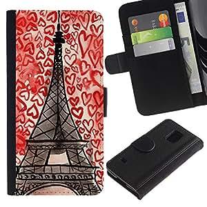 For Samsung Galaxy S5 V SM-G900,S-type® Paris Hearts Love France Drawing Chalk - Dibujo PU billetera de cuero Funda Case Caso de la piel de la bolsa protectora
