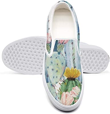 Cactus and Succulents Flamingo Slip on Canvas Upper Loafers Canvas Shoes for Women Lightweight