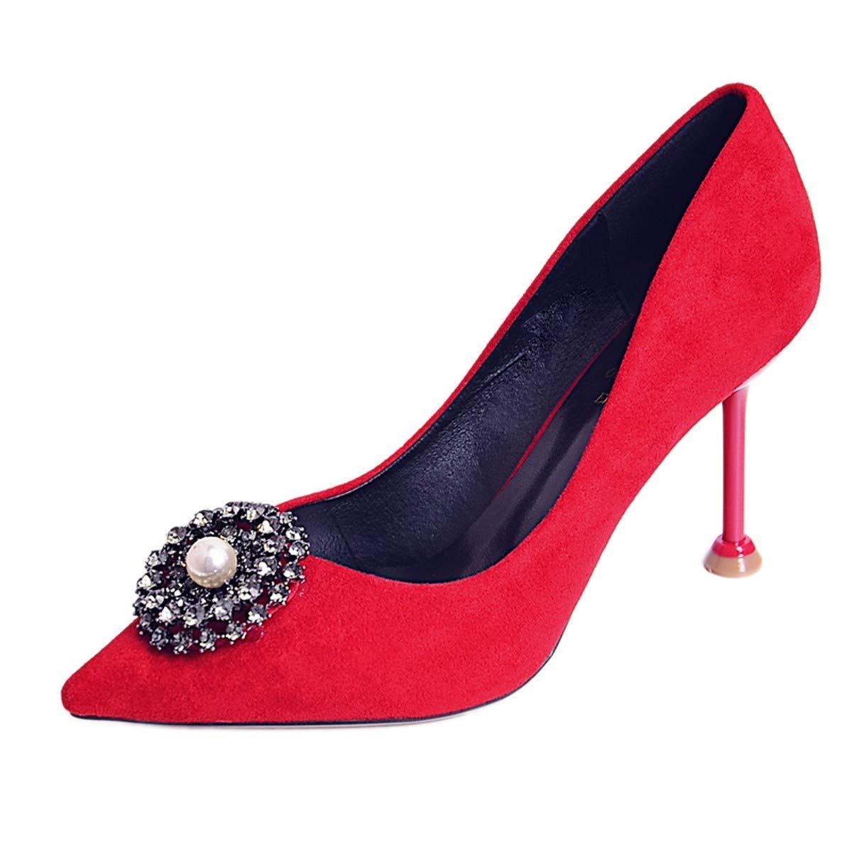 LBTSQ-High Heels 8Cm Dünnen Dünnen Dünnen Heels Braut Schuhe Ladies'schuhe Damen-Schuhe Mode Cat-Heels Flache Schuhe Mund Hochzeit 8817b7