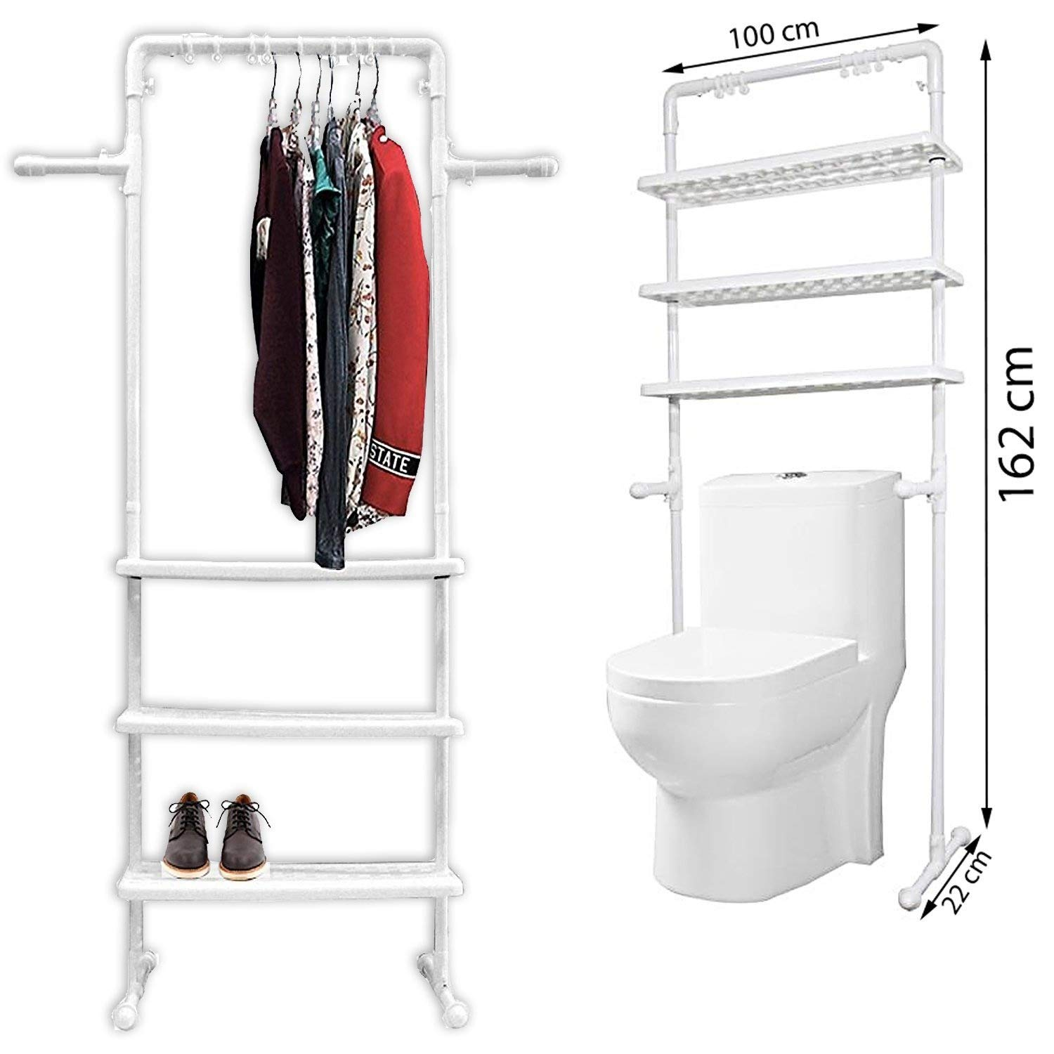 FB FunkyBuys® 3 TIER MULTI-FUNCTION WHITE KITCHEN BATHROOM TELESCOPIC CADDY SELF DRAIN SELF W/ TOWEL RAIL SHAMPOO SOAP CONDITIONER HOLDER HANGERS FB FunkyBuys®