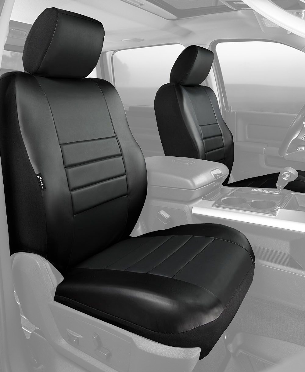 Fia SL69-39 BLK//BLK Custom Fit Front Seat Cover Bucket Seats Solid Black Leatherette