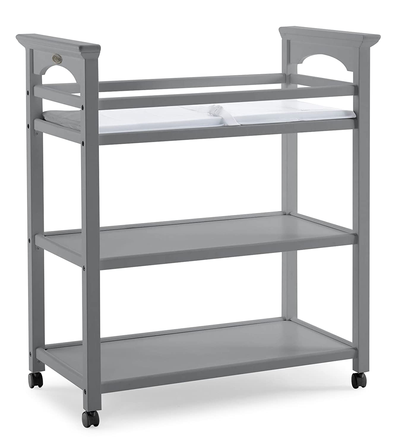 Graco Lauren Changing Table, Espresso Changing Table with Changing Pad and Safety Strap, Two Storage Shelves 00524-429