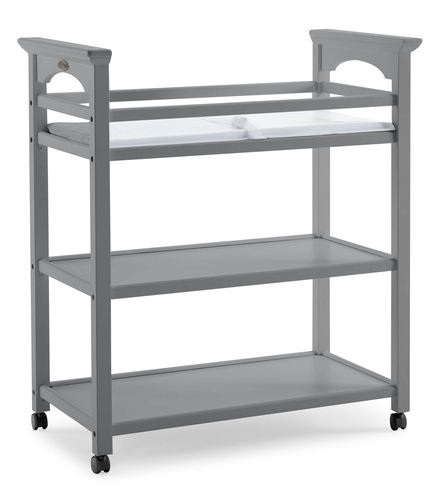 Graco Lauren Changing Table with Water-Resistant Change Pad and Safety Strap, Pebble Gray, Multi Open Storage Nursery Changing Table for Infants or Babies by Storkcraft