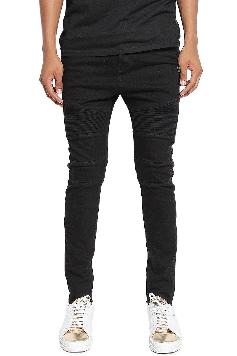 TheMogan Mens The Biker Slim Jeans in Jet Black Guys Street Style Skinny Pants