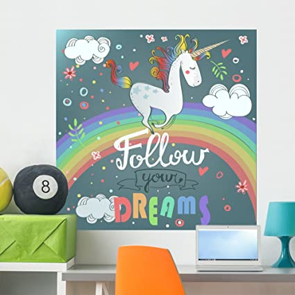 Amazoncom Wallmonkeys Cute Unicorn Wall Mural Peel and Stick