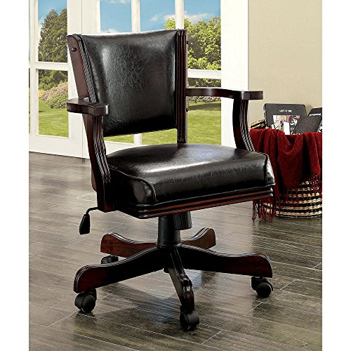 1PerfectChoice Rowan Game Adjustable Leatherette Arm Chair 5-Wheel Casters Cherry Wood