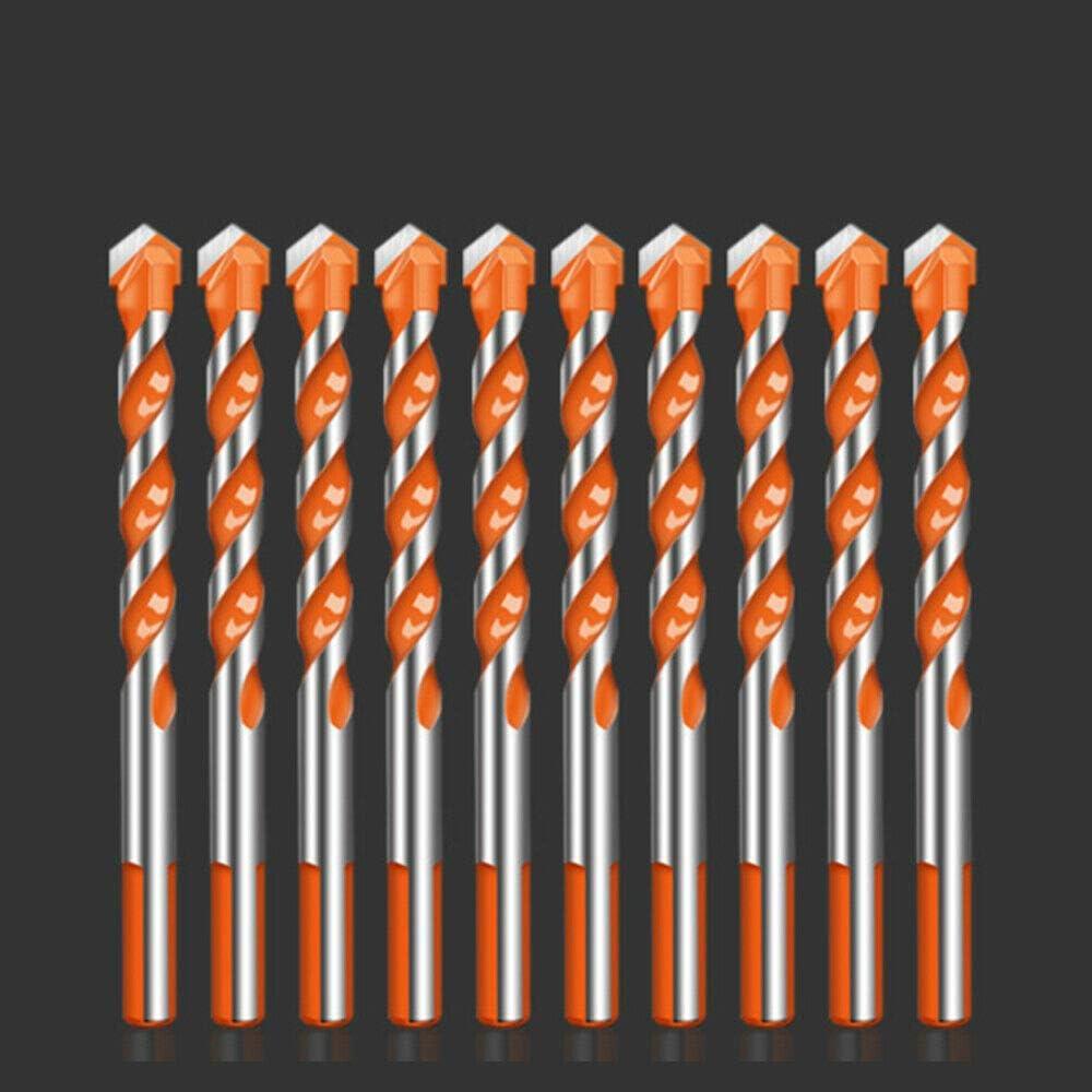 ladrillo pl/ástico y madera 10 Pcs Set 6mm juego de brocas de perforaci/ón definitivas para azulejos vidrio 1//4 hormig/ón Juego de brocas multifuncionales con mango triangular