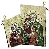 Set The Holy Family Rosary Icon Pouch Tapestry Prayer Keepsake Case Jerusalem