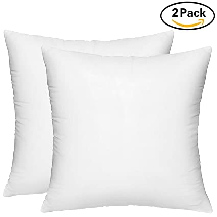 HIPPIH 2 Pack Pillow Insert   18 X 18 Inch Hypoallergenic Decorative Square  Sofa And Bed