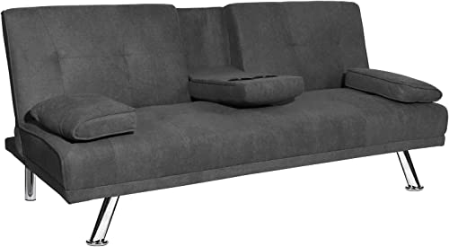 DKLGG Futon Couch,Convertible Sofa Bed for Living Room,Love Seat Sleeper Bed with 2 Cupholders Dull Gray