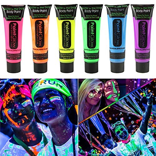 Homehere Glow in Dark Face Body Paint UV Blacklight Neon Fluorescent-0.35oz Set of 6 Tubes - Safe, Washable, Non-Toxic -