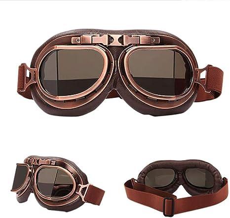 Laleo Retro Motorrad Brille Gläser Vintage Moto Klassische Brille Für Harley Pilot Steampunk Atv Bike Kupfer Helm Brownlenses Sport Freizeit