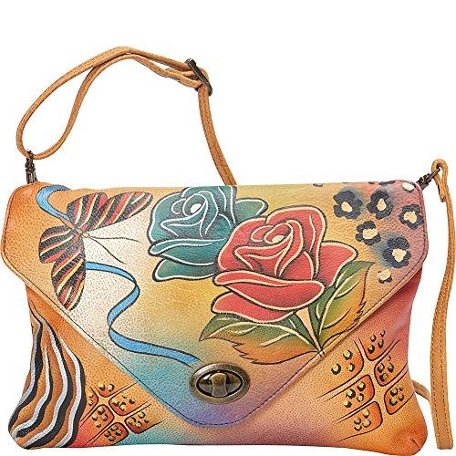 Anna by Anuschka Handpainted Leather Envelope Clutch, Rose Safari