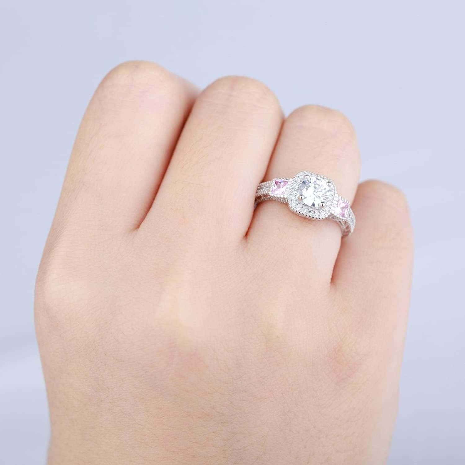 Round Cut Clear Stone 18K White Gold IP Plated Stainless Steel Pink ...