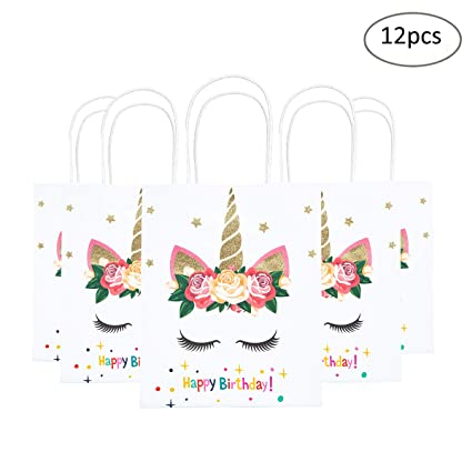 Amazon Funnlot Unicorn Gift Bags Birthday Party Supplies Favor Good For Filling With Goodies Candy Glitter Set Of 12 Gold Toys Games