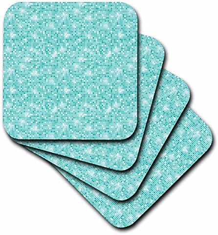 3dRose cst_192780_1 Chic Aqua Abstract Sparkling Squares-Soft Coasters, Set of 4