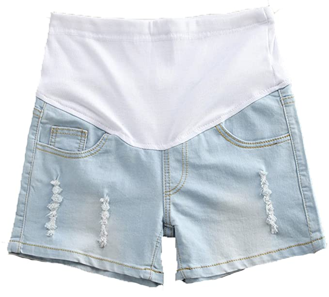 8f7ce6d5d7615 Maternity Pregnant Women Summer Adjustable Elastic Care Belly Denim Shorts  Jeans (Asian Tag M