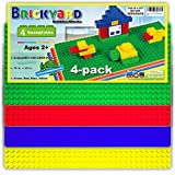 [Large 10 in. x 20 in.] Compatible Baseplates for Large Building Blocks by Brickyard, Assorted Colors 10' x 20' Plastic Base Plate - Compatible with Duplo Blocks - for Displaying Toys (4-Pack)