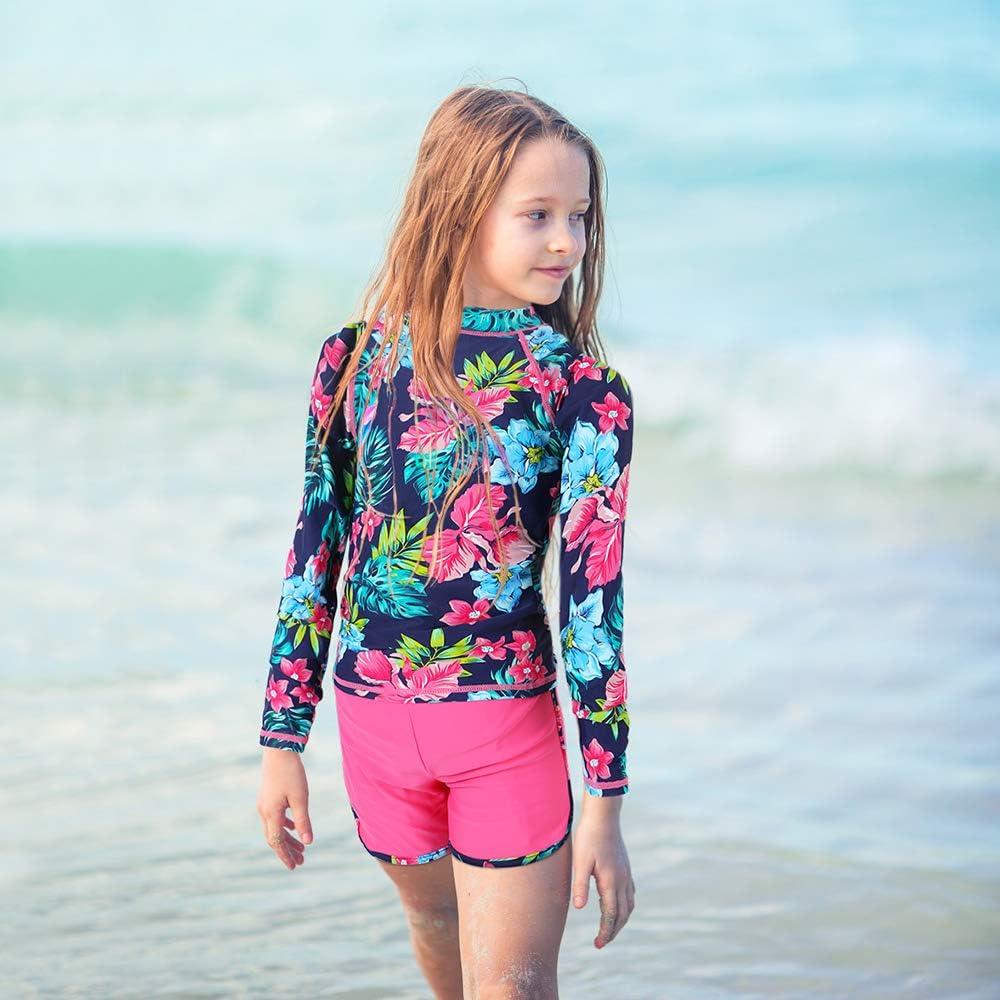 Sun Protective Swimwear Girls Rash Guard Set Two Piece Long Sleeve Swimsuit UPF 50