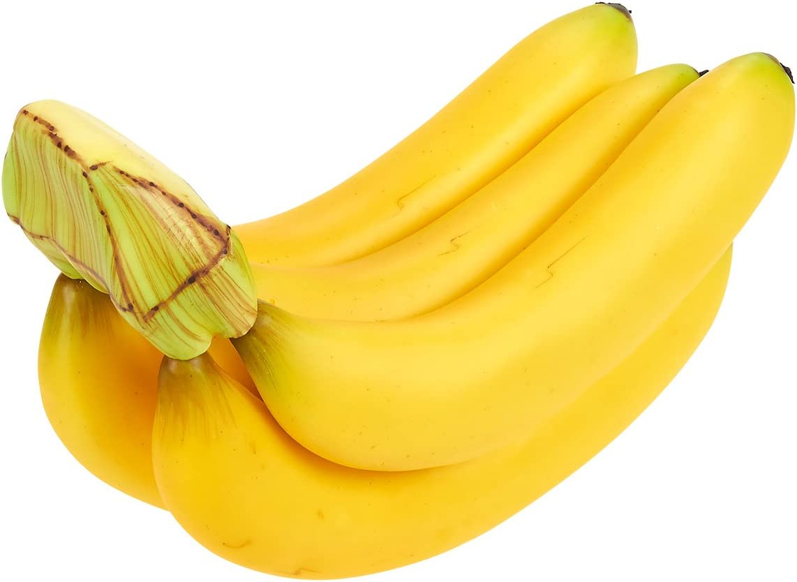 Juvale Fake Fruit Bananas - Artificial Fruit Plastic Bananas Still Life Paintings, Storefront Decoration, Kitchen Decor, Yellow, 7 x 5.5 x 3.5 inches