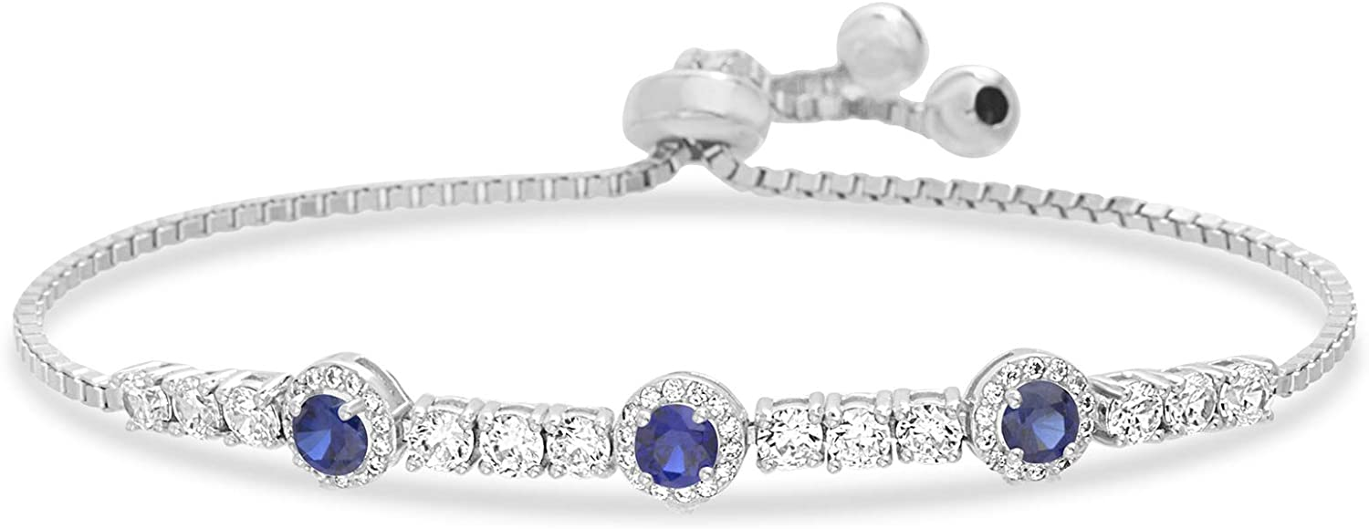 INSPIRED BY YOU. Sterling Silver Laboratory Created Opal and Cubic Zirconia Adjustable Tennis Style Bridal Bracelet for Women (Various Colors)