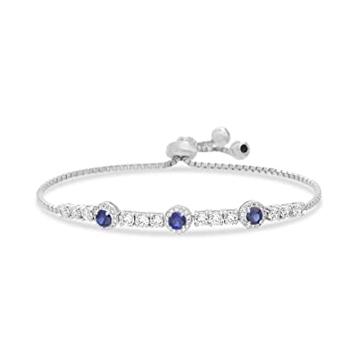84093ff91 Round Prong Set Laboratory Created Opal and Cubic Zirconia Adjustable  Tennis Style Bridal Bracelet for Women in 925 Sterling Silver (Various  Colors)