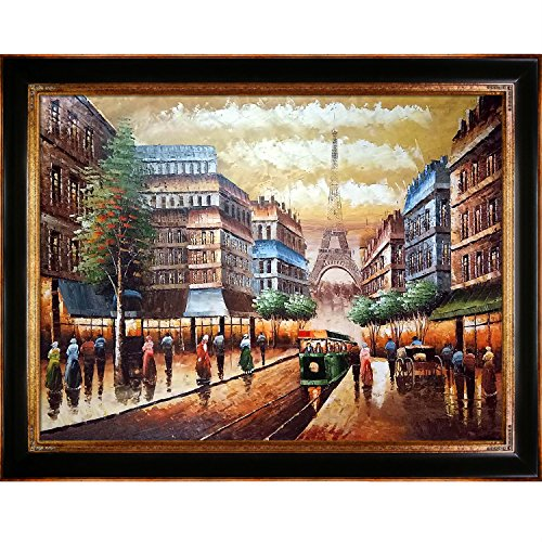 La Pastiche overstockArt Buggy Ride Through Paris Framed Oil Reproduction of an Original Painting by Various Artists, Opulent Frame, Dark Stained Wood and Gold Finish