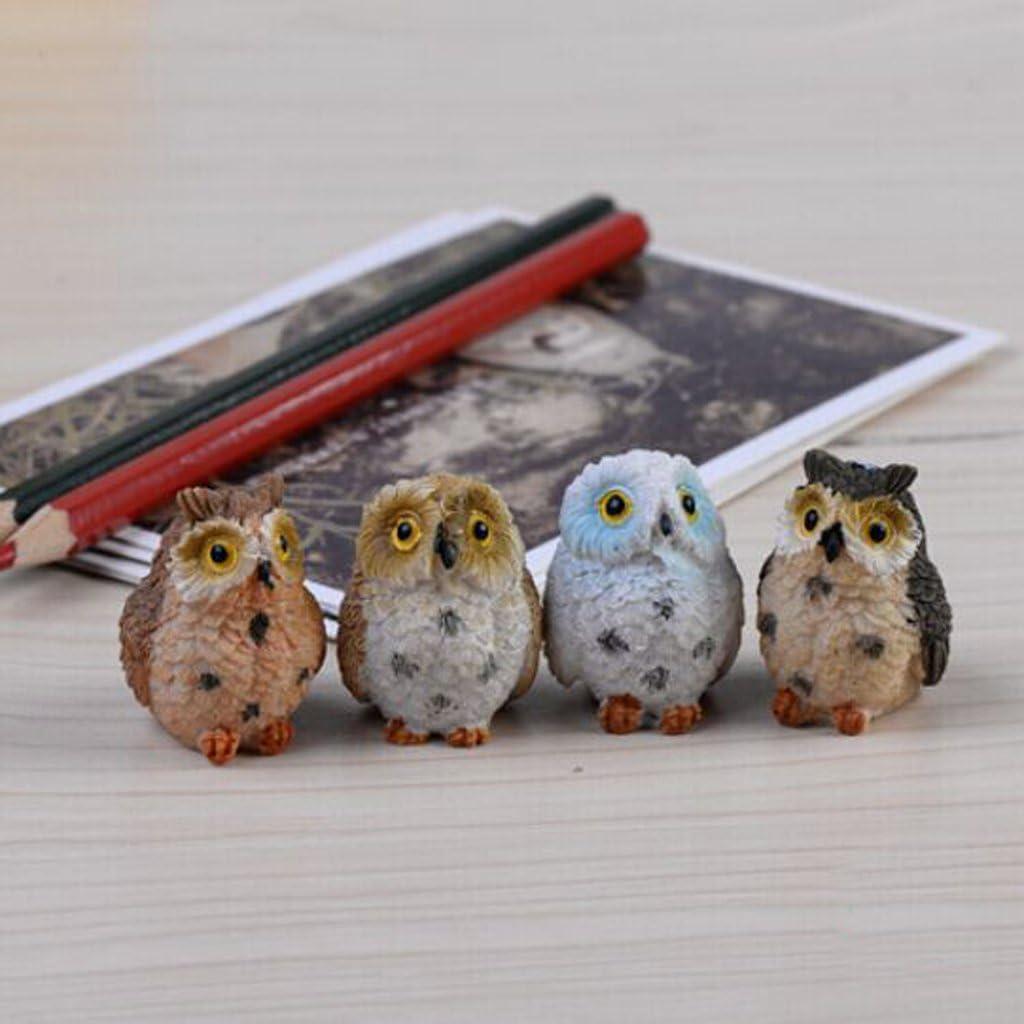 Owls 4pcs Fairy Garden Accessories Kits for Girls Boys Kids FLAMEER Miniature Garden Ornaments for DIY Fairy Garden Dollhouse Decoration