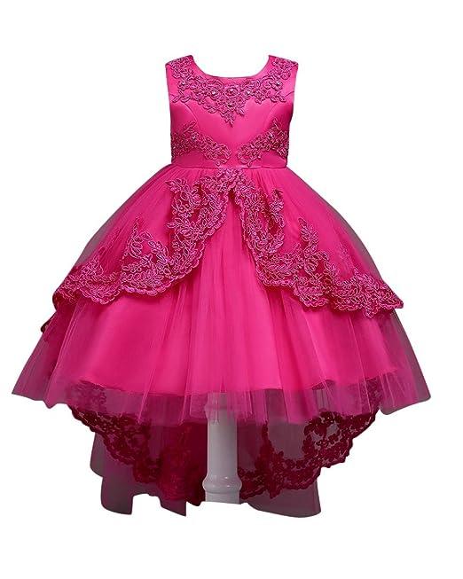 Vestido de Princesa Asimétrico para Niñas sin Mangas para Boda Bautizo Fiestas Rose 150
