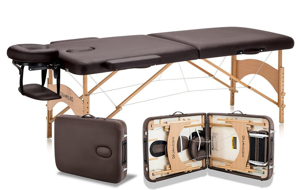 Portable Massage Table Package - Length with Headrest: 83 - Height Adjustable 24- 35 - Working Weight: 550lbs - Beech Legs & Polar Decking - Free 3-Piece White Poly-Cotton Sheet Set DR.LOMILOMI