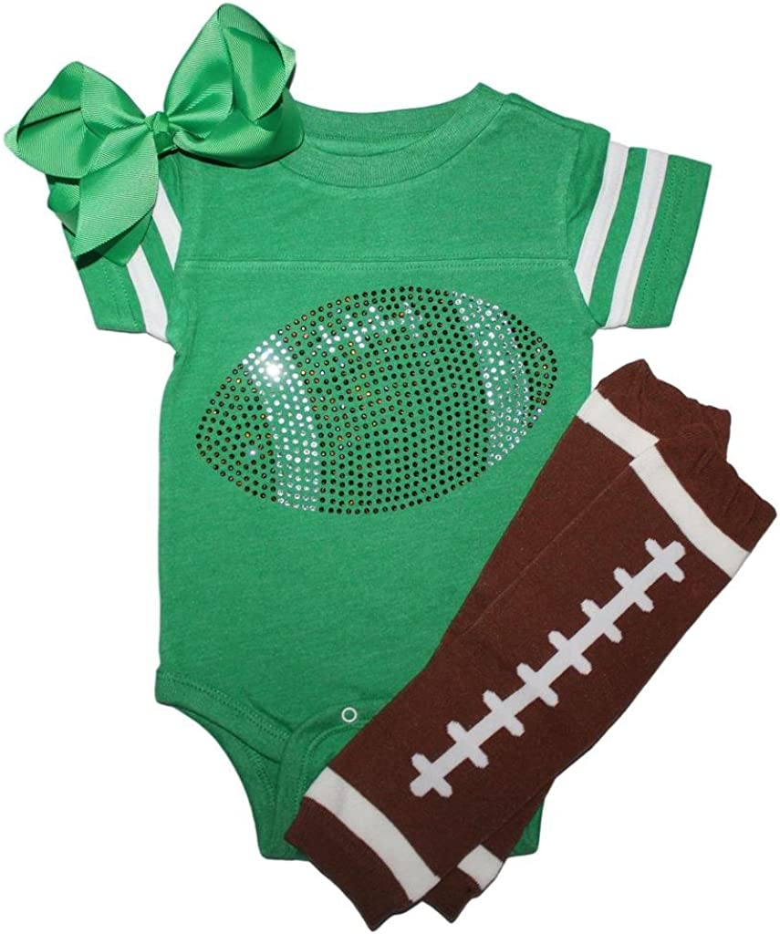 FanGarb Rhinestone Infant Toddler Baby Girls Football Team Color Outfit