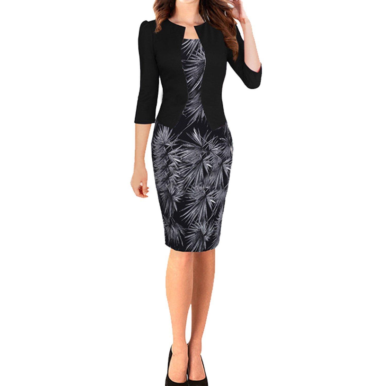 SUNNOW® Elegant Damen Kleider Formal 3/4 Ärmel Bleistift-Kleid ...