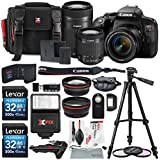 Canon EOS Rebel T7i DSLR Camera W/EF-S 18-55mm f/4-5.6 IS STM Lens + EF-S 55-250mm f/4-5.6 IS STM Lens and 2 X 32GB, 58mm Telephoto & Wide-Angle Lens, Filters, Tripods, Xpix Lens Accessories