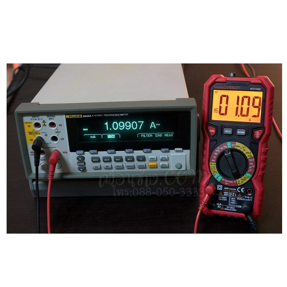 HABOTEST /édition exclusive HT118C Multim/ètre num/érique de grande pr/écision avec prise Jack indicateur LED et r/étro/éclairage de deux couleurs