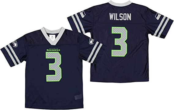 Outerstuff Seattle Seahawks Russell Wilson #3 NFL Big Boys Youth Player Jersey, Navy