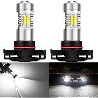 KaTur 70561156BA15S 1141P21W focos LED de color blanco 283521SMD 80W de alta potencia 12V lente LED Señal de giro freno de mano reversa (paquete de 2), Blanco, 2pcs PSX24W