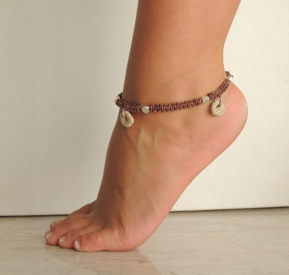 Womens Ankle Bracelet, Braided Cord Anklet With Natural Small Hag Stones