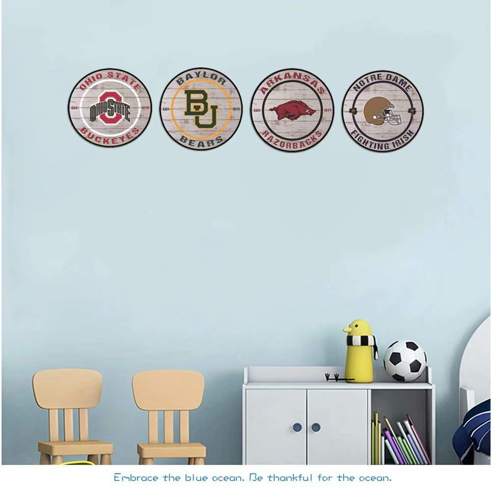 Poeni Aluminum Signs Baylor Bears Metal Tin Sign Round Metal Posters for College Dorm Bar Garage