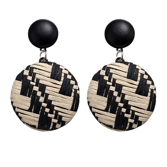 Amazon.com: Pendientes redondos de estilo bohemio de madera ...