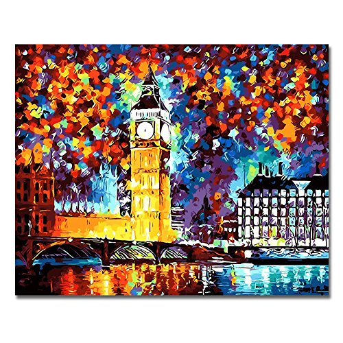 Rihe Paint by Numbers Kits Diy Oil Painting for Adults Kids Beginner - Night View of London 16 x 20 inch with Brushes and Acrylic Pigment (Without Frame)