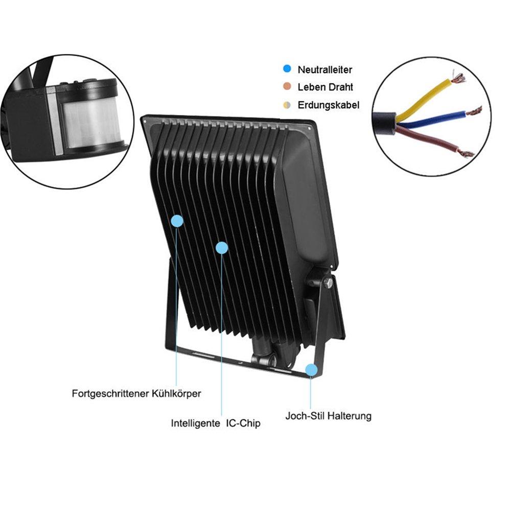 TEquem LED 100W Fluter mit Bewegungsmelder 900lm Strahler Warmweiß ...