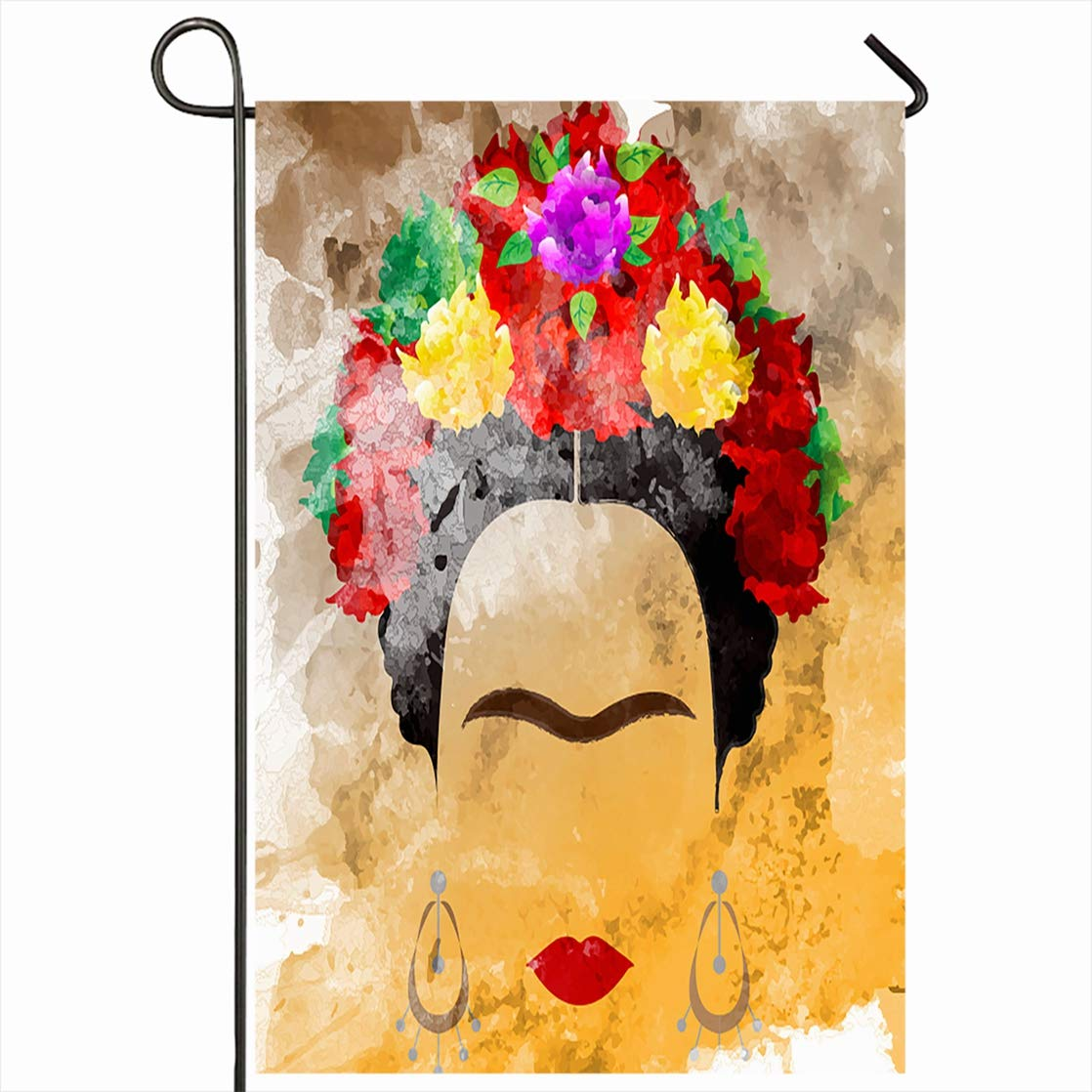 Ahawoso Outdoor Garden Flag 12x18 Inches Face Red Mexican Watercolor Frida Ethnic Carnival Design Painting Seasonal Home Decorative House Yard Sign