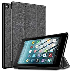 IVSO Cover Case for All-new Fire 7 Tablet 2019, Slim PU Cover Case for All-New Amazon Fire 7 Tablet (9th Generation, 2019 Release), Gray