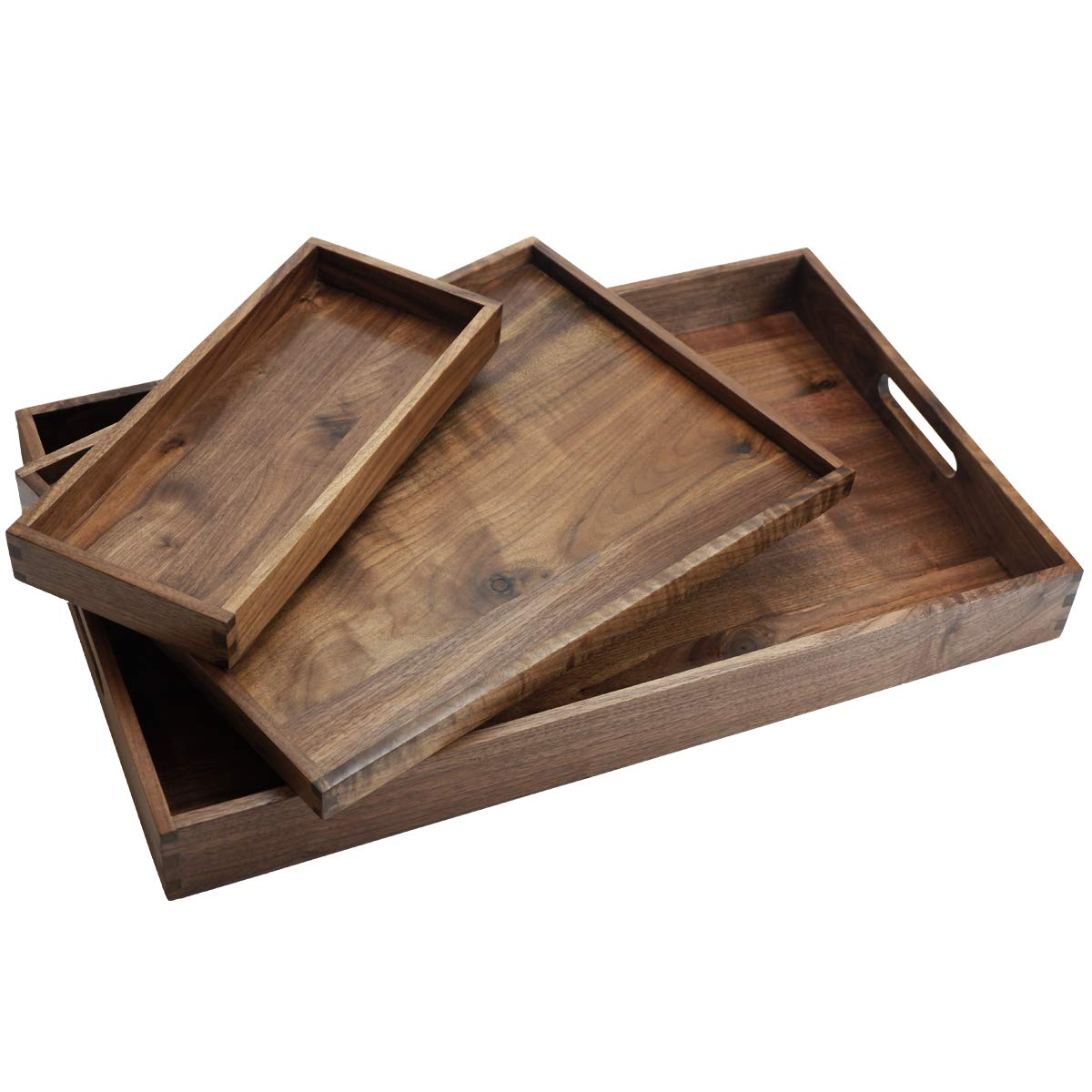 MAGIGO Set of 3 Rectangle Solid Black Walnut Wood Decorative Serving Trays - Large, Medium Ottoman Trays Serve Tea Coffee or Breakfast in Bed, and Small Tray for Odds and Ends