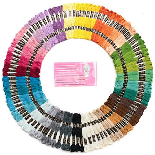 Mira Handcrafts 105 Embroidery Thread Skeins - Friendship Bracelet String – Perfect Embroidery Floss Kit for Beginners – Set of 10 Gold Eye Needles and 1 Threader Included – DMC Color Card Included by Mira HandCrafts