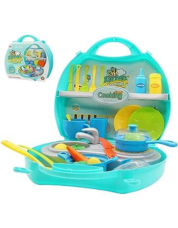Cocina Infantil Caja Maletin Herramientas Accesorios Cocina Juguetes Juegos de imitación de Cocina con Estufa y