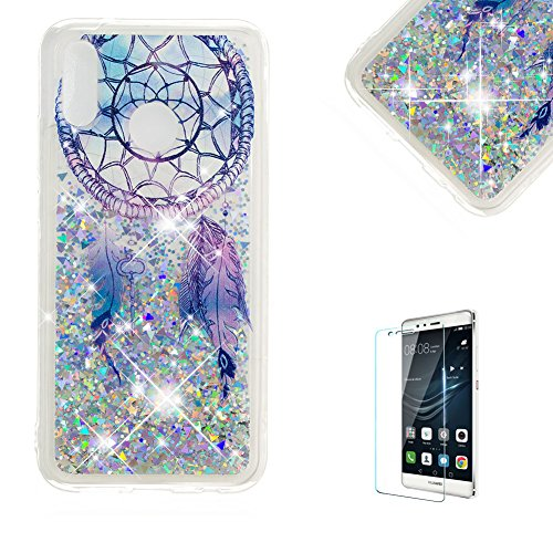 Funyye Glitter Liquid Case for Huawei P20 Lite,Stylish Multi-Coloured Sparkle Quicksand Dream Catcher Design Transparent Soft Flexible Silicone Gel TPU Bumper Back Cover Case for Huawei P20 (Grip Lite Tray)