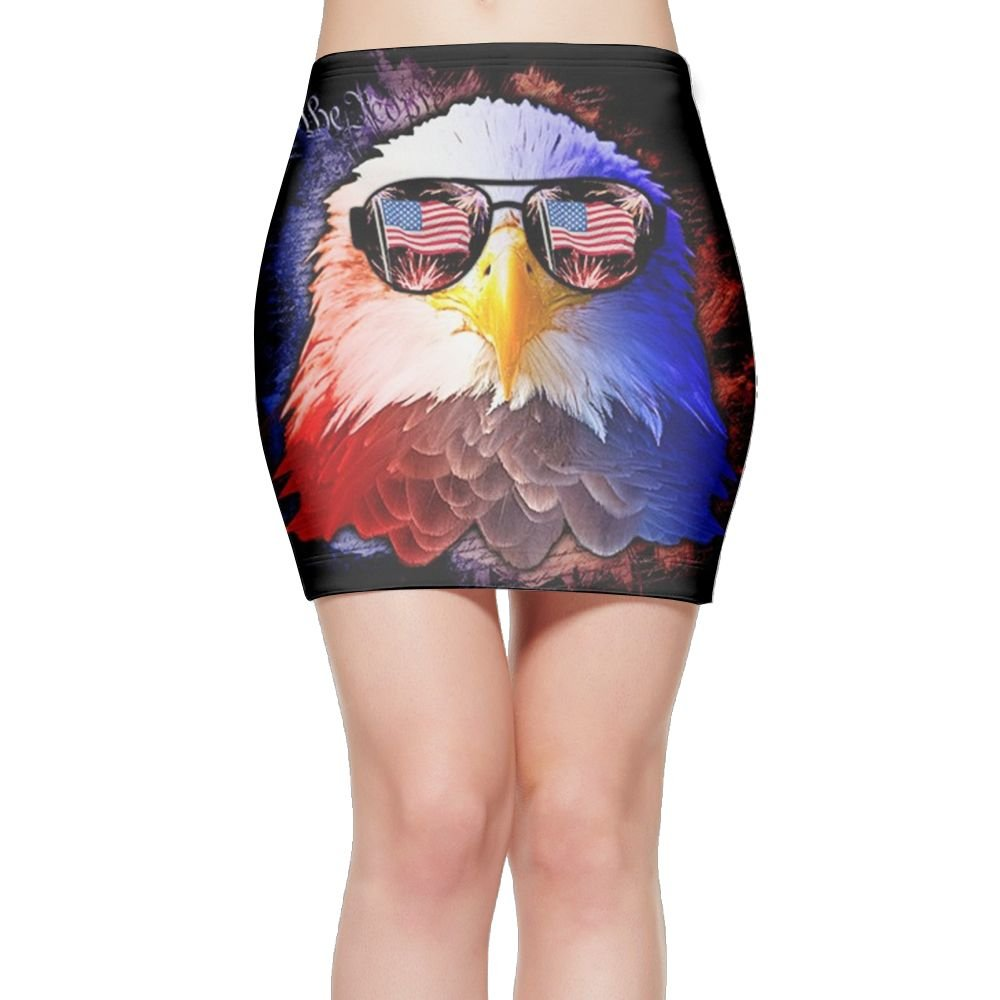 Eagle Wearing Glasses 3D Print Customizable Lady Skin A-Line Elasticated High Waist Pencil Package Hip Skirt