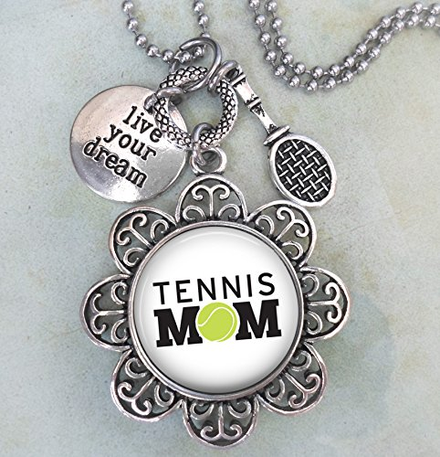 Tennis Mom Keychain, Purse Clip or Necklace, Live Your Dream, Tennis Racket Charm, All Sizes, Mother Appreciation Thank You Gift